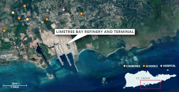 Limetree Bay project map. Map credit: Claudine Hellmuth/E&E News(graphic); Satellite image: © 2019 Google; Data: EPA