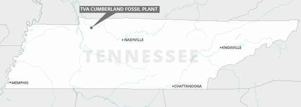 A map of Tennessee showing location of the Cumberland Fossil Plant. Photo credit: Claudine Hellmuth/E&E News