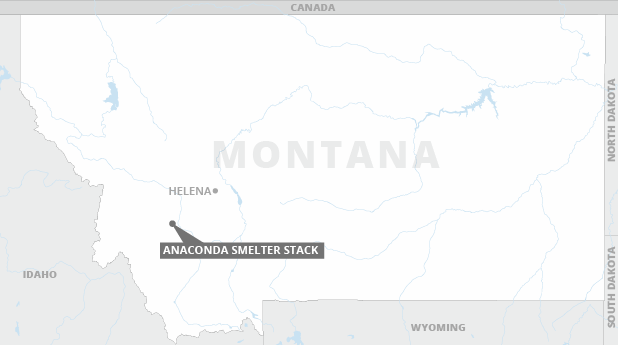 Locator map of the Anaconda smelter stack in Montana. Photo credit: Claudine Hellmuth/E&E News