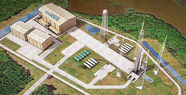 Rendering of the launch pad complex at the proposed spaceport in Camden County, Ga. Photo credit: Spaceworks Enterprises Inc./Camden County