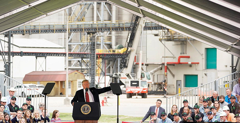 President Trump speaks during a visit to Southwest Iowa Renewable Energy. Photo credit: Kevin LaMarque/REUTERS/Newscom