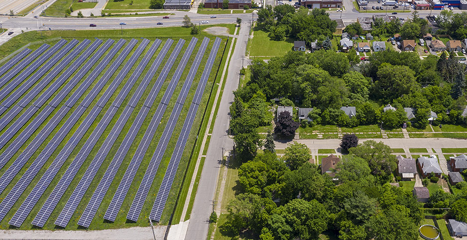 A two megawatt solar installation was built on vacant land in Detroit. Photo credit: Jim West/ZUMA Press/Newscom