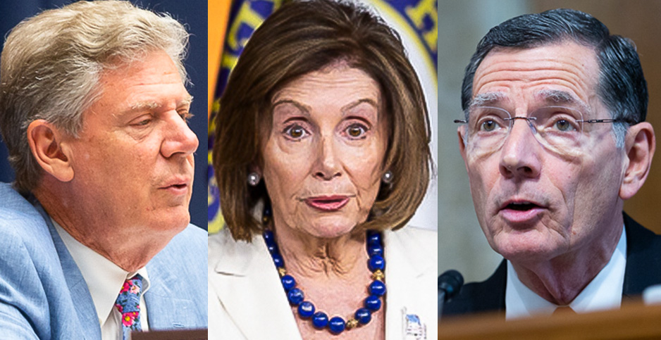 Rep. Frank Pallone (D-N.J.), Rep. Nancy Pelosi (D-Calif.) and Sen. John Barrasso (R-Wyo.). Photo credit: Francis Chung/E&E News