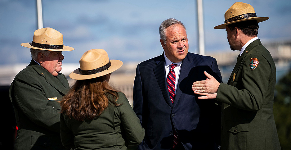 Interior Secretary David Bernhardt speaks to park rangers. Photo credit: Alexander Drago/REUTERS/Newscom