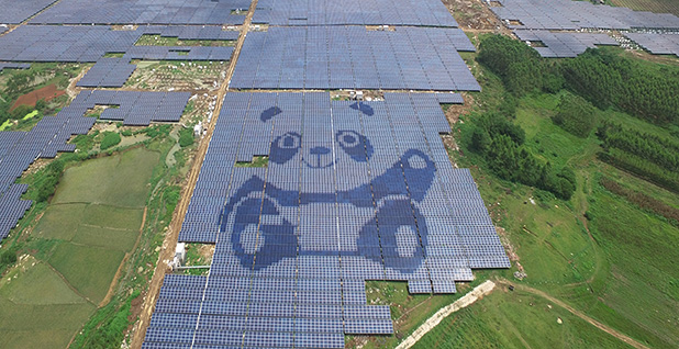 A giant solar farm in South China's Guigang city. Photo credit: Imagine China/Newscom