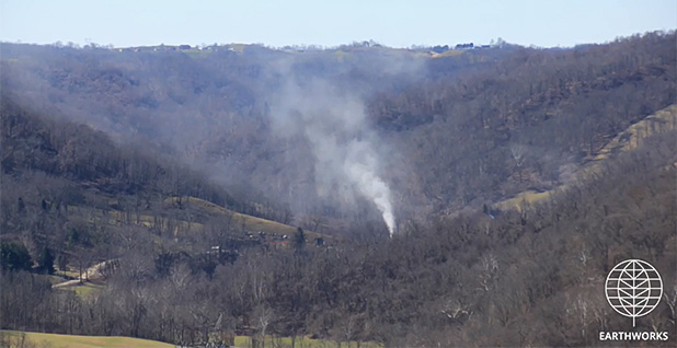 Site of a major methane release in Ohio. Photo credit: Earthworks/YouTube
