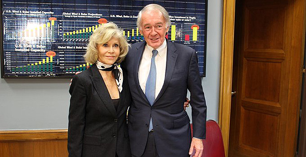Sen. Ed Markey (D-Mass.) and Jane Fonda. Photo credit: @SenMarkey/Twitter