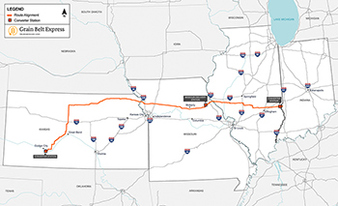 Grain Belt Express map. Photo credit: Invenergy LLC