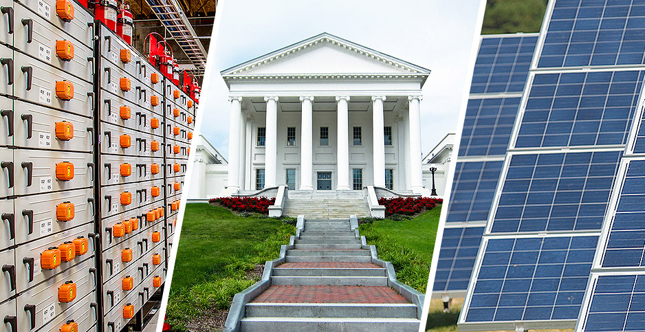 Batteries, Va. capital building, and solar panels. Photo credit: PNNL/Portland General Electric (Battery storage), Victoria Belanger/Flickr (Va. state capital), Maryland GovPics/Flickr (solar farm).