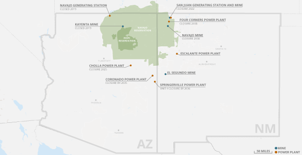 Coal-fired power plants and their mines are closing across the Four Corners region. Photo credit: Claudine Hellmuth/E&E News (graphic); Snazzy maps/© 2019 Google (base map)