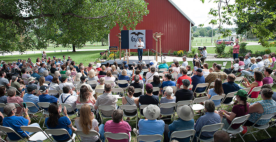 An audience in Tipton, Iowa, listens to Pete Buttigieg, a Democratic candidate for president. Photo credit: Jeff Topping/Polaris/Newscom
