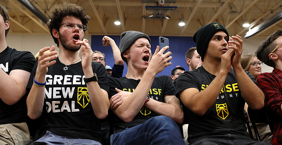Activists with the Sunrise Movement cheer at a November rally that featured Sen. Bernie Sanders. Photo credit: Scott Morgan/Reuters/Newscom