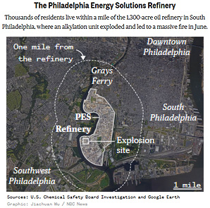 The Philadelphia Energy Solutions Refinery map. Map credit: Jiachuan Wu / NBC News