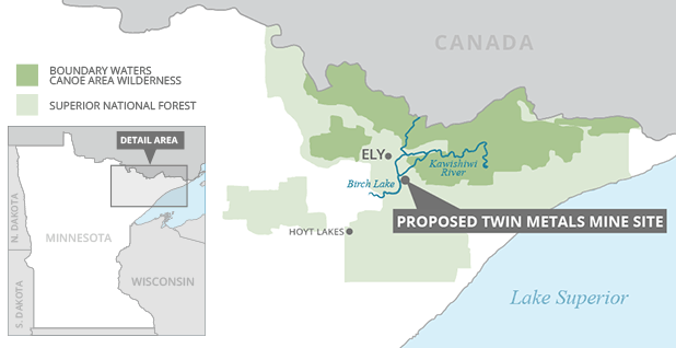 This map shows the proposed site of the Twin Metals mine in northern Minnesota. Map credit: Claudine Hellmuth/E&E News