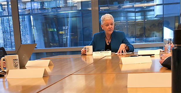 Natural Resources Defense Council President and CEO Gina McCarthy speaking with reporters this morning. Photo credit: Kevin Bogardus/E&E News