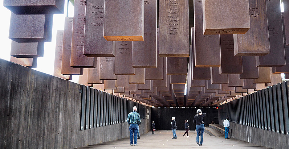 Visitors to the National Memorial for Peace and Justice. Photo credit: Sue Dorfman/ZUMA Press/Newscom