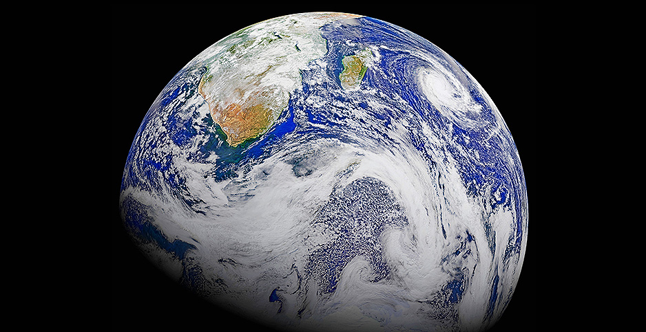 A view of Earth from the Suomi National Polar-orbiting Partnership spacecraft. Photo credit: World History Archive/Newscom
