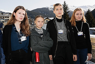 (from left) Luisa Neubauer, Greta Thunberg, Isabelle Axelsson and Loukina Tille. Photo credit: Markus Schreiber/Associated Press