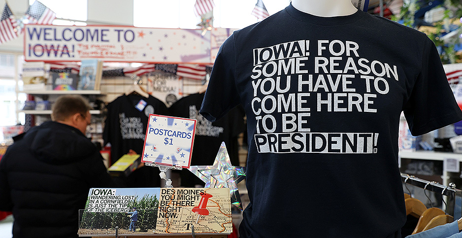 People shop for politics-themed merchandise in Des Moines, Iowa. Photo credit: Jonathan Ernst/REUTERS/Newscom