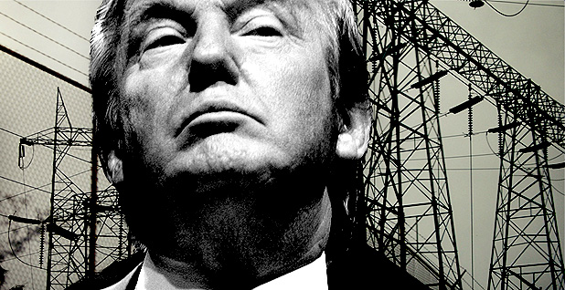 Trump and grid. Photo credits: Claudine Hellmuth/E&E News(illustration); Gage Skidmore/Flickr(Trump); Midnight Believer/Flickr(grid)