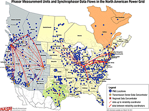 Synchrophasor data flows map. Map credit: North American Synchrophasor Initiative