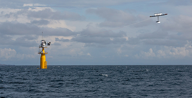 Makini's energy kite tethered to an offshore station. Photo credit: Makini