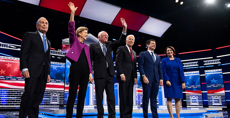 The Democratic debate featured sharp attacks last night. Photo credit: Caroline Brehman/CQ Roll Call/Newscom