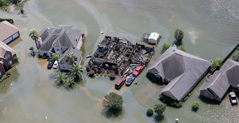 Hurricane Harvey-damaged houses. Photo credit: SC National Guard/Flickr