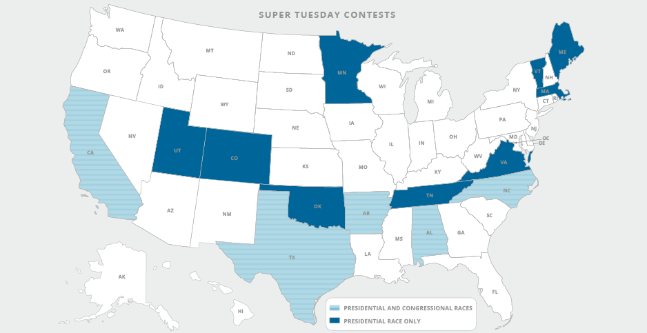 Super Tuesday contests map. Image credit: Claudine Hellmuth/E&E News