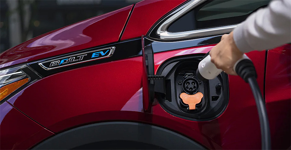 Chevy Bolt charging. Photo credit: General Motors Co.