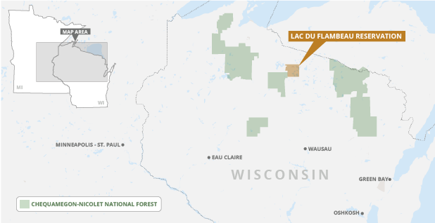Lac du Flambeau reservation and Chequamegon-Nicolet National Forest. Map credit: Claudine Hellmuth/E&E News; Snazzy maps/© 2020 Google