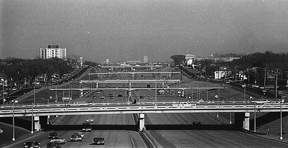 Historical picture of Interstate 94. Photo credit:  <em>St. Paul Pioneer Press</em>