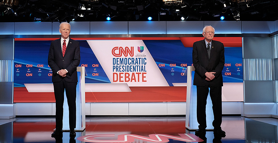 Vice President Joe Biden and Sen. Bernie Sanders. Photo credit: CNN/UPI/Newscom