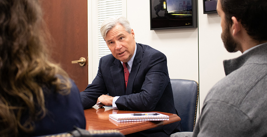 Congressional Democrats, including Sen. Sheldon Whitehouse (D-R.I.), are looking to include climate change provisions in the third coronavirus stimulus package. Photo credit: Sheldon Whitehouse/Twitter