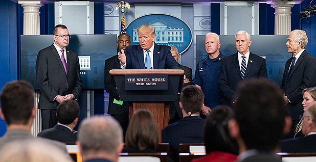 President Trump at coronavirus briefing. Photo credit: Andrea Hanks/White House/Flickr