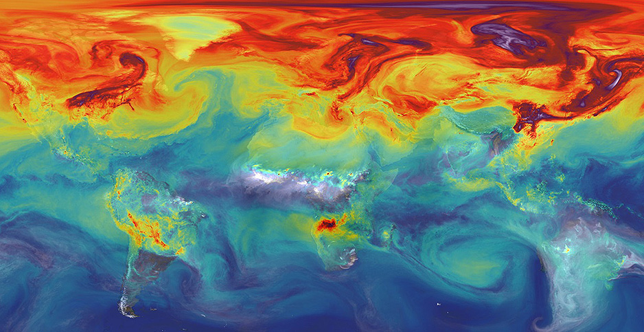 Global carbon emissions as simulated by NASA. Photo credit: NASA