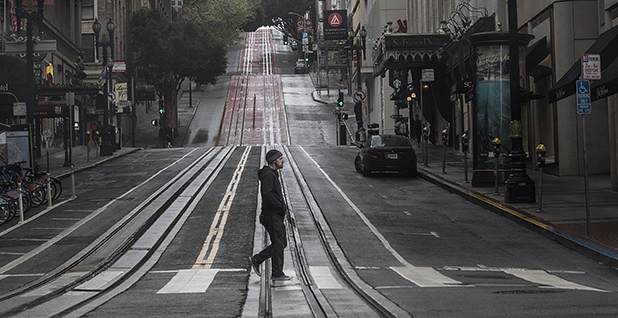 Empty San Francisco street during coronavirus. Photo credit: Terry Schmitt/UPI/Newscom