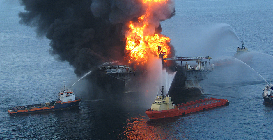 Deepwater Horizon rig fire. Photo credit: U.S. Coast Guard/UPI/Newscom