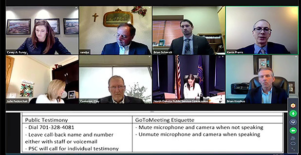 North Dakota regulators zoom hearing screenshot. Photo credit: North Dakota PSC
