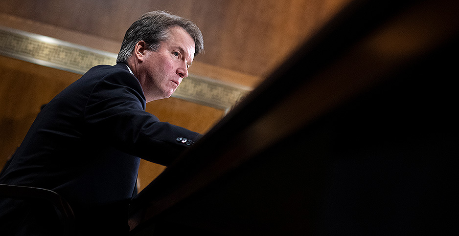 Kavanaugh is pictured at his Senate confirmation hearing. Photo credit: Tom Williams/CQ Roll Call/Newscom