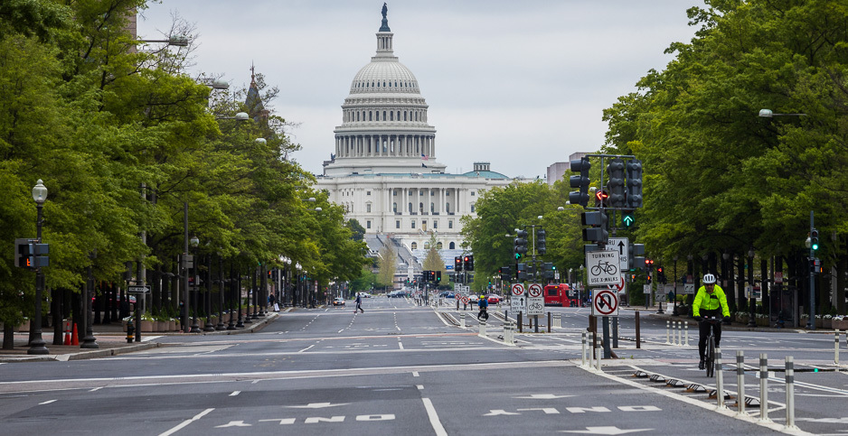 Deserted Pennsylvania Ave. in Washington, D.C. Photo credit: Francis Chung/E&E News
