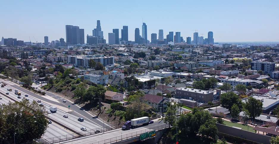 The Los Angeles skyline is pictured earlier this month. PHOTO CREDIT: Image of Sport/Newscom