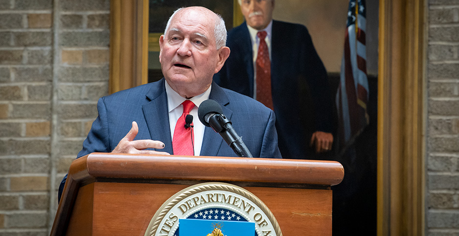 Agriculture Secretary Sonny Perdue at podium. Photo credit: U.S Department of Agriculture/Flickr
