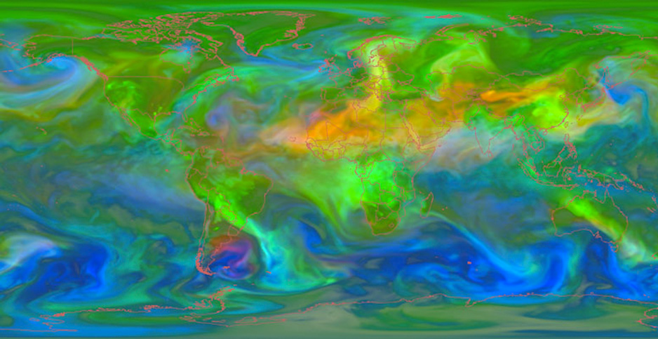 NASA climate model showing aerosols. PHOTO CREDIT: NASA