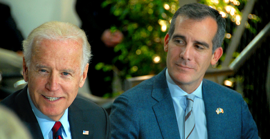 Los Angeles Mayor Eric Garcetti appears with then Vice President Joe Biden. Photo credit: Los Angeles Clean Tech Incubator/Wikimedia Commons
