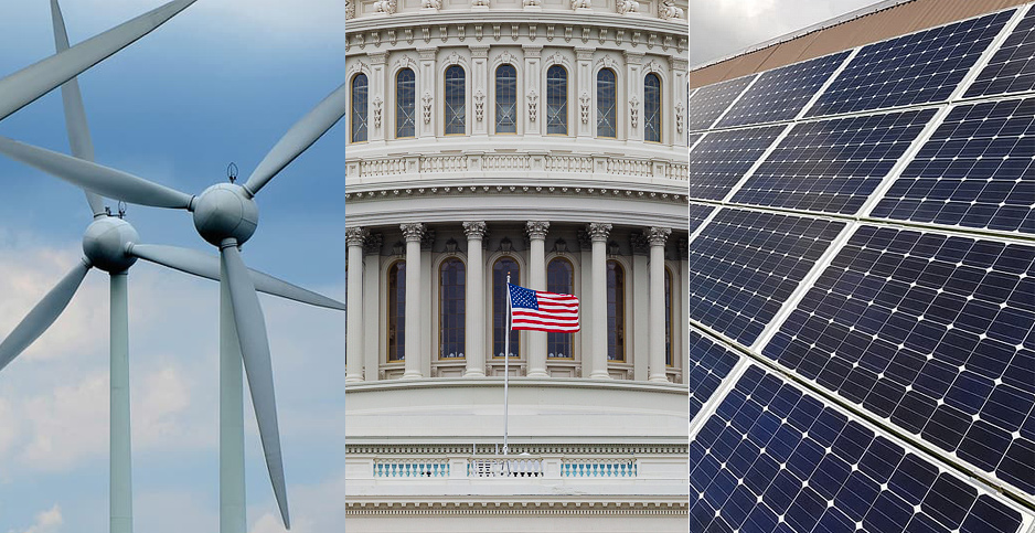 Wind power, Capitol dome, solar power. Photo credit: Pikrepo (wind and solar); Francis Chung/E&E News (dome)