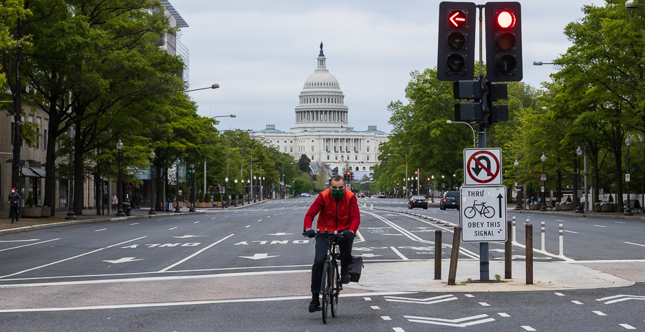 A bicyclist on Pennsylvania Ave. in Washington, D.C. Photo credit: Francis Chung/E&E News