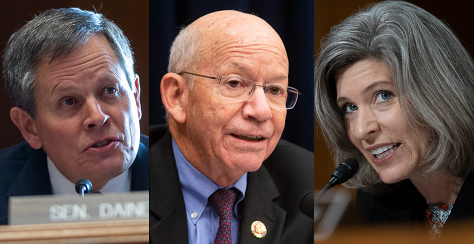Sen. Steve Daines (R-Mont.), Rep. Peter DeFazio (D-Ore.) and Sen. Joni Ernst (R-Iowa). Photo credit: Francis Chung/E&E News