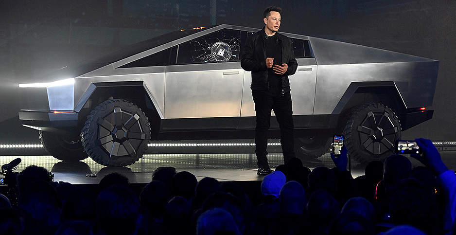 Tesla CEO Elon Musk unveils the Cybertruck. Photo credit: Reuters Photographer/Robert Hanashiro-USA TODAY/Newscom
