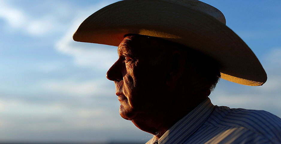 Cliven Bundy in a hat viewed from the side. Photo credit: Mike Blake/Reuters/Newscom